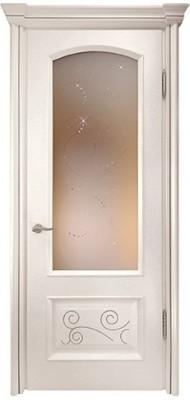 Міжкімнатні двері Меранті Плюс Відень Milk зі склом (глуха нижня тахля з фрезеруванням)