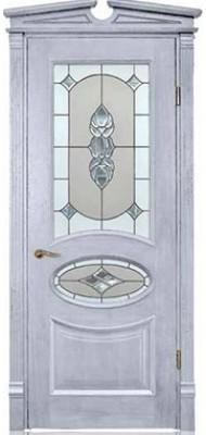 Міжкімнатні двері Меранті Плюс Ренесанс - Вітраж Renaissance Wood milk-silver