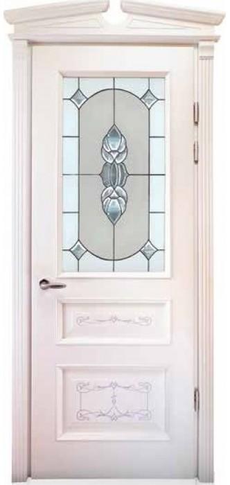 Міжкімнатні двері Меранті Плюс Олександрія зі склом - Вітраж Ренесанс