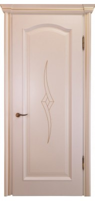 Міжкімнатні двері Меранті Плюс Тоскана глуха Milk з інкрустацією золота