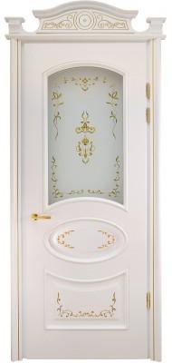 Міжкімнатні двері Меранті Плюс Фаберже зі склом і порталом