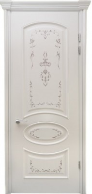 Міжкімнатні двері Меранті Плюс Фаберже глухі двері Срібний розпис