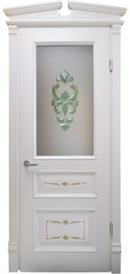 Міжкімнатні двері Меранті Плюс Олександрія із зеленим фацетом