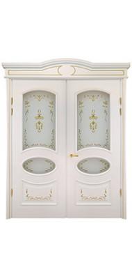 Міжкімнатні двері Меранті Плюс Фаберже двохстворкова зі склом Фаберже