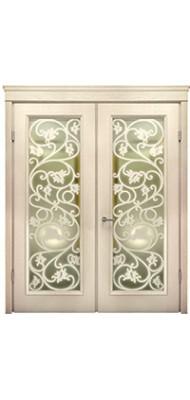 Міжкімнатні двері Меранті Плюс Лейсі двохстворкова зі склом Виноградна лоза