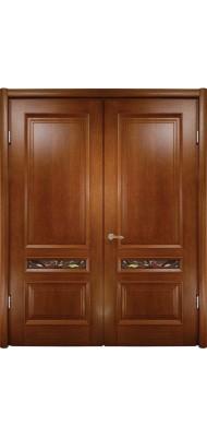 Міжкімнатні двері Меранті Плюс Еліт двопільна з вітражем