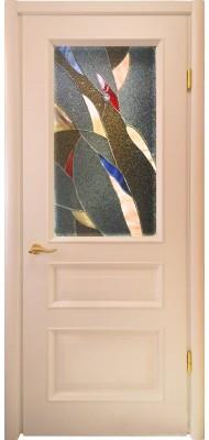 Міжкімнатні двері Меранті Плюс Олександрія з вітражем