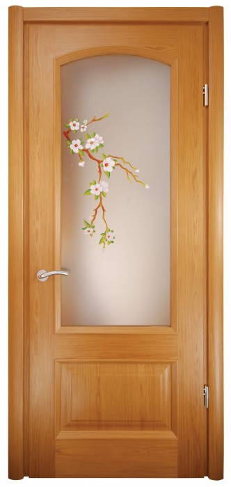 Міжкімнатні двері Меранті Плюс Верона зі склом - сакура