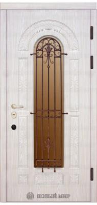 Вхідні двері Новий світ Флоренція з різьбленням, с/п і гратами