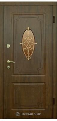 Вхідні двері Новий світ Генуя з накладними елементами, с/п і гратами